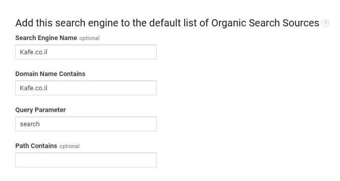 add organic search engine to default list google analytics